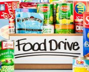Food drive box with variety of dry goods