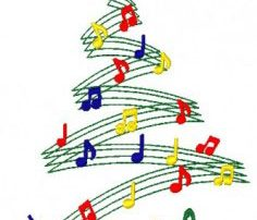 christmas tree created with music notes and staff lines